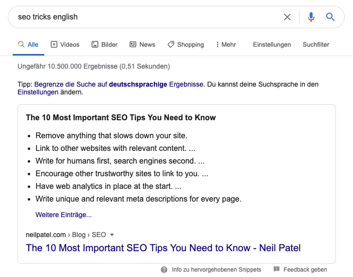 Google featured list snippet