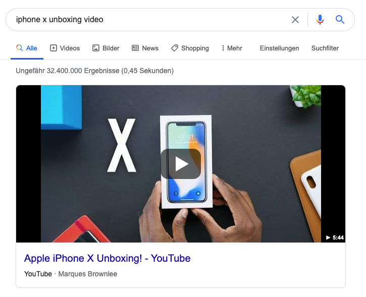 Google featured video snippet